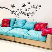 Japanese Birds & Blossom wall sticker
