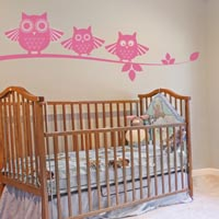 Perching Owl Family wall sticker