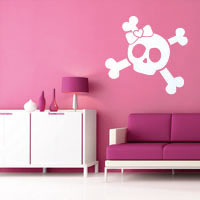 Sweet Girly Skull wall sticker