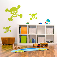 x3 Skull n Bones wall sticker